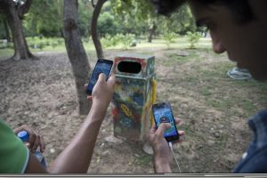 "In this Friday, July 22, 2016. photo, random 'pokestops' are deployed in the game Pokemon Go for players to gather Pokeballs and goodies, in Lodhi garden, New Delhi, India. ""Pokemon Go,"" the highly addictive online game, has landed in India and thousands are out searching for pokemon characters as the mania spreads. Although it has not been launched officially in India, the augmented-reality-based game has caught on, with fans also using virtual private networks (VPNs) to change their locations and catch pokemons in New York and London while sitting in their Indian homes. (AP Photo/Thomas Cytrynowicz)"